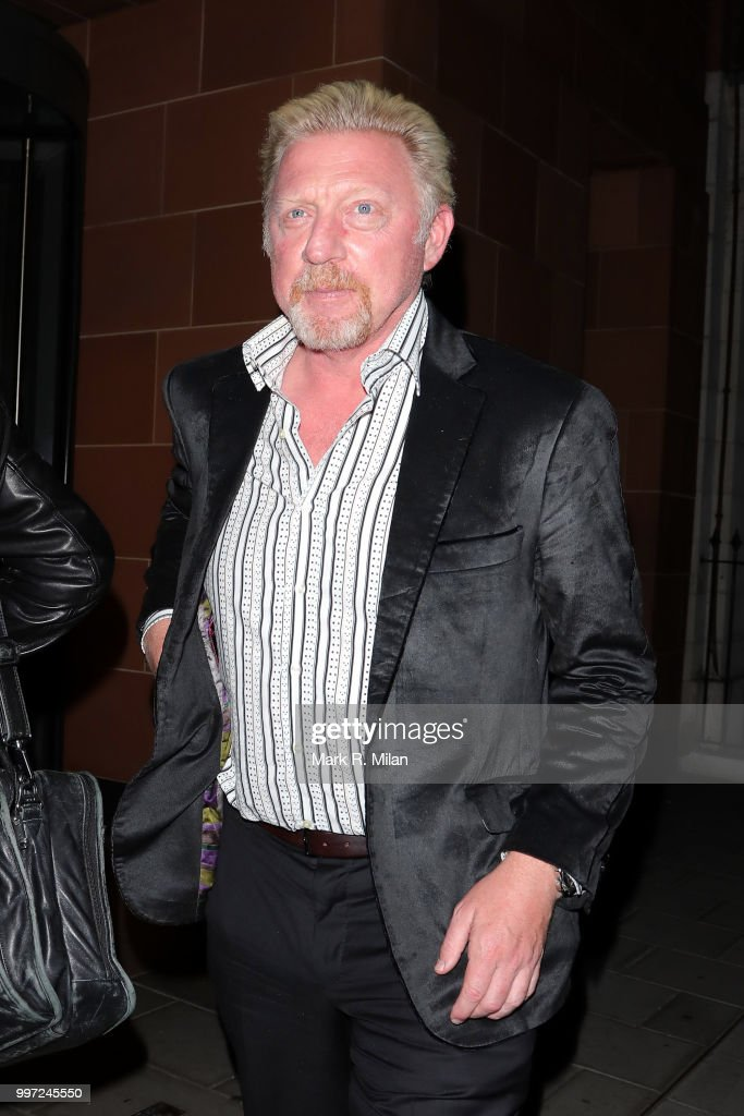 Boris Becker leaving C London restaurant on July 12, 2018 in London, England.
