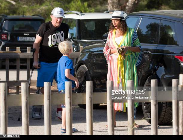 Boris Becker Lilly Becker and theis son Amadeus Becker are seen on August 17 2017 in Ibiza Spain