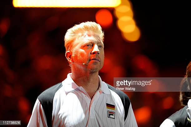 Boris Becker looks on during the 'Deutschland Gegen Italien' TV Show on April 20 2011 in Duesseldorf Germany