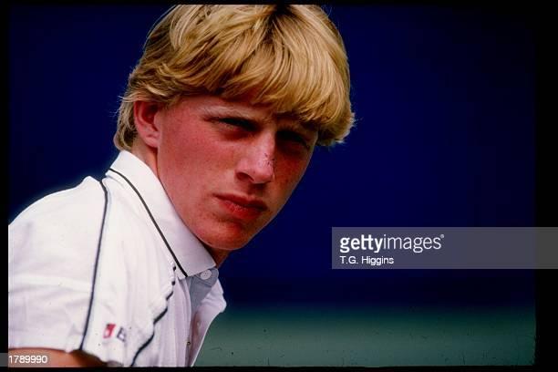 Boris Becker looks on Mandatory Credit T G Higgins /Allsport
