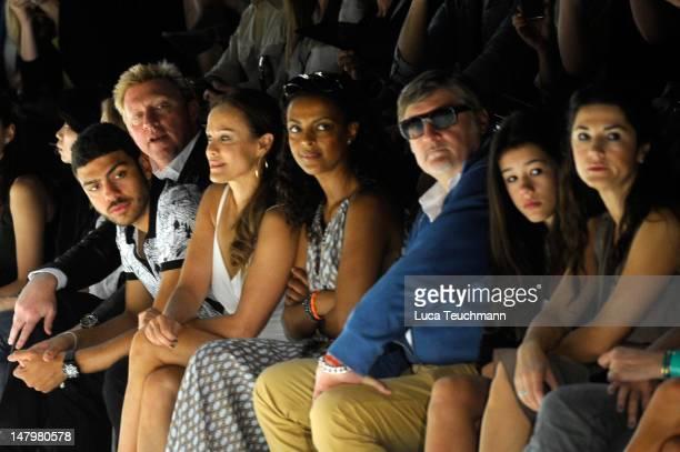 Boris Becker, Noah Becker, Sonja Kirchberger, Dennenesch Zoude, Carlo Rola, Isabella Ahrens and Mariella Ahrens sit in front row during the Minx By...