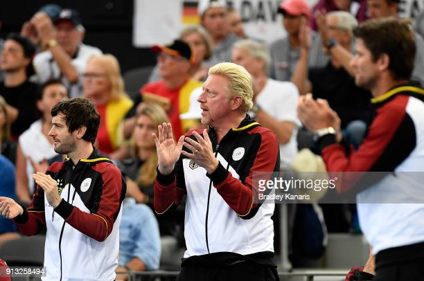 Boris Becker of Germany celebrates a point by Alexander Zverev of Germany in the match against Alex de Minaur of Australia during the Davis Cup World...