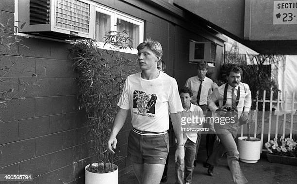 Boris Becker of Germany is seen during the 1985 Australian Open Tennis Championship at Kooyong in Melbourne Australia