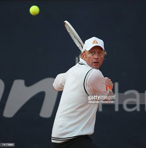 Boris Becker of Germany keeps his eye on the ball during his match against Thomas Muster of Austria during BlackRock Tennis Classic 2007 at...