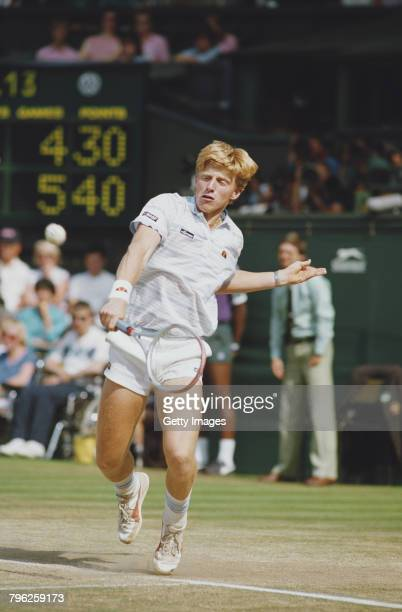 Boris Becker of Germany makes a back hand return to Kevin Curren during the Men's Singles final of the Wimbledon Lawn Tennis Championship on 7 July...