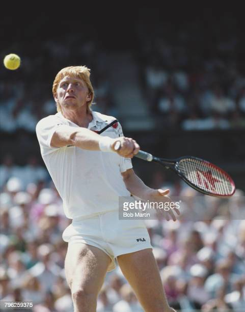 Boris Becker of Germany makes a backhand return during the Men's Singles Final of the Wimbledon Lawn Tennis Championship against Stefan Edberg on 8...