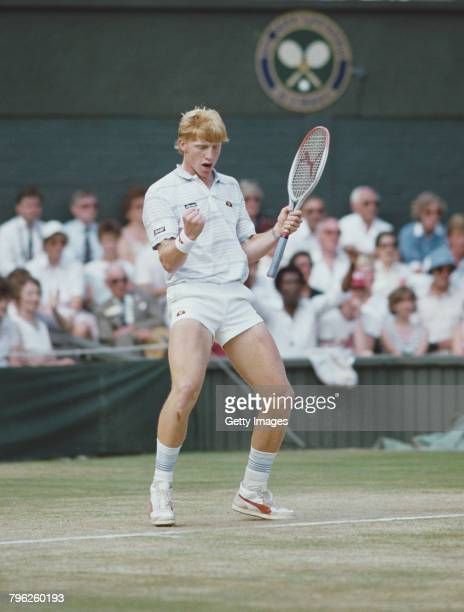 Boris Becker of Germany pumps his fist in celebration during his Men's Singles final match against Kevin Curren during the Wimbledon Lawn Tennis...
