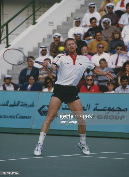 Boris Becker of Germany returns against Goran Ivanisevic in the Men's Singles Final of the Mannai Cadillac Qatar Tennis Open on 11 January 1993 at...