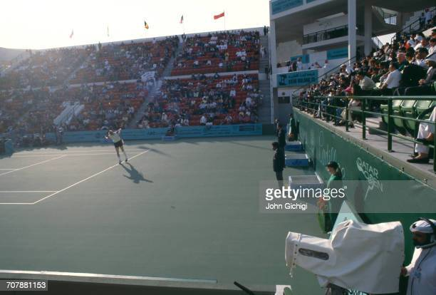 Boris Becker of Germany serves against Goran Ivanisevic in the Men's Singles Final of the Mannai Cadillac Qatar Tennis Open on 11 January 1993 at the...