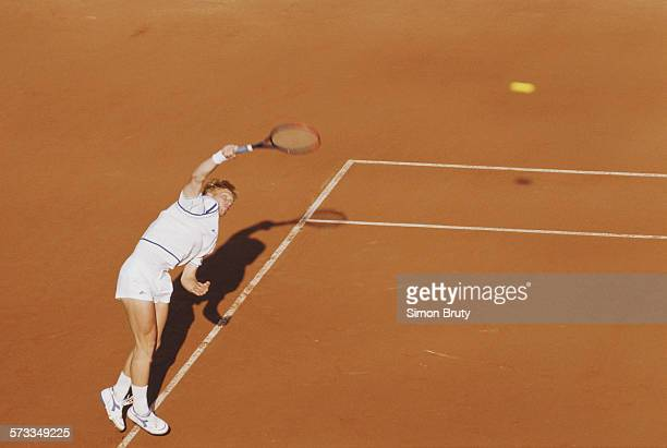 Boris Becker of Germany serves during a Men's Singles match during the French Open Tennis Championship on 1st June 1989 at the Stade Roland Garros...