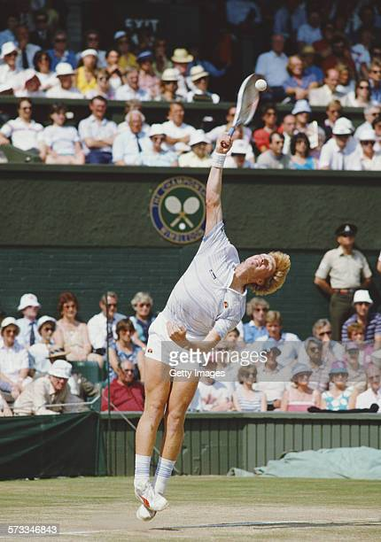 Boris Becker of Germany serves during his defeat of Kevin Curren in the Men's Singles final of the Wimbledon Lawn Tennis Championship on 7 July 1985...