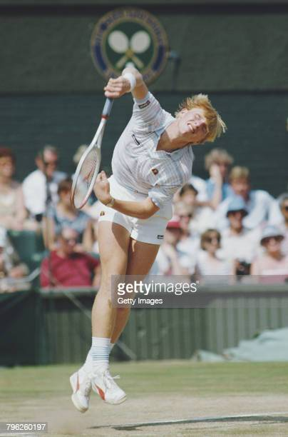 Boris Becker of Germany serves to Kevin Curren during the Men's Singles final of the Wimbledon Lawn Tennis Championship on 7 July 1985 at the All...