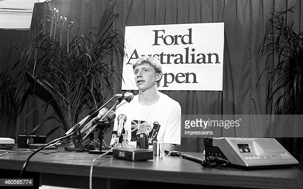 Boris Becker of Germany talks to the media during the 1985 Australian Open Tennis Championship at Kooyong in Melbourne, Australia.