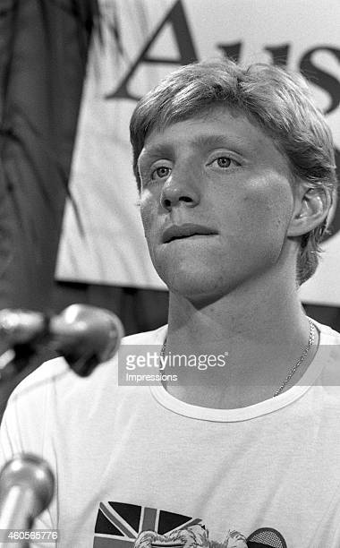 Boris Becker of Germany talks to the media during the 1985 Australian Open Tennis Championship at Kooyong in Melbourne Australia