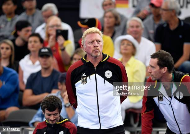 Boris Becker of Germany watches on in the match between Alexander Zverev of Germany and Alex de Minaur of Australia during the Davis Cup World Group...