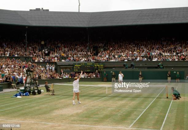 Boris Becker of West Germany defeats Stefan Edberg of Sweden in straight sets in the men's singles championship final at Wimbledon on 9th July 1989...