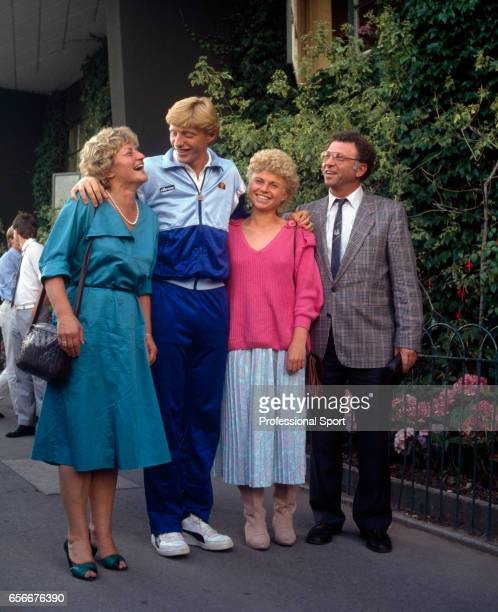 Boris Becker of West Germany surrounded by his family after defeating Kevin Curren of the USA during the men's singles final at Wimbledon on 7th July...