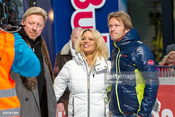 Boris Becker Pamela Anderson and event promoter Andy Wernig during the third and final day of the Formula Snow 2015 ski opening on December 5 2015 in...