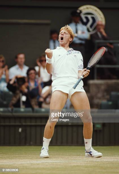 Boris Becker pictured celebrating during his semi final match against Ivan Lendl in the Men's Singles tournament at the Wimbledon Lawn Tennis...