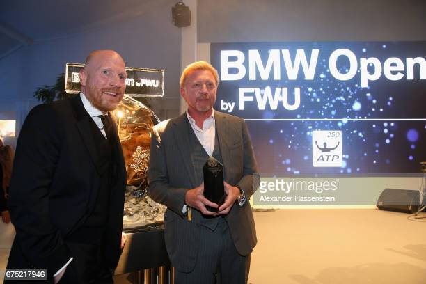Boris Becker receives the Iphitos Award 2017 netxt to Matthias Sammer at the Players Night of the 102 BMW Open by FWU at Iphitos tennis club on April...