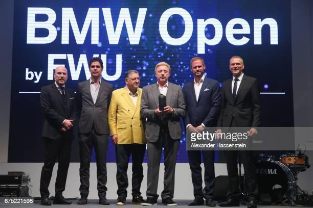Boris Becker receives the Iphitos Award 2017 with Matthias Sammer Peter Bosch Manfred Duerrheimer Peter van Binsbergen and Fabian Tross during the...
