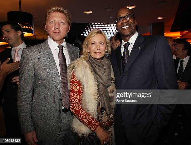 Boris Becker, Sabine Christiansen and Edwin Moses attend the Laureus Sport For Good Dinner at Mercedes-Benz Gallery on November 16, 2010 in Berlin,...