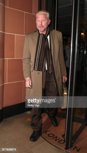 Boris Becker seen leaving C restaurant in Mayfair after celebrating his 50th birthday on November 22 2017 in London England