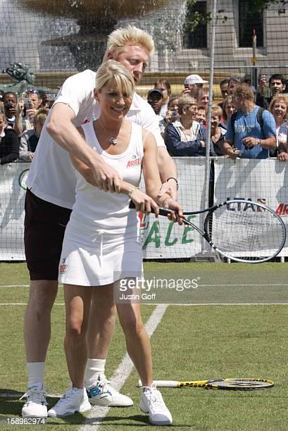 Boris Becker Tim Henman Laila Rouass Zoe Lucker Take Part In The Ariel Celebrity Tennis Match In London'S Trafalgar Square