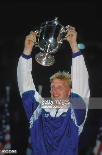 Boris Becker vainqueur du tournoi de l'US Open à Flushing Meadows le 10 septembre 1989 à New York EtatsUnis