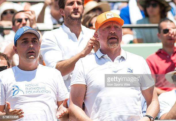 Boris Becker watches Novak Djokovic as he defeats Andy Murray 76 46 60 for the Men's Championship at the 2015 Miami Open in Key Biscayne Florida