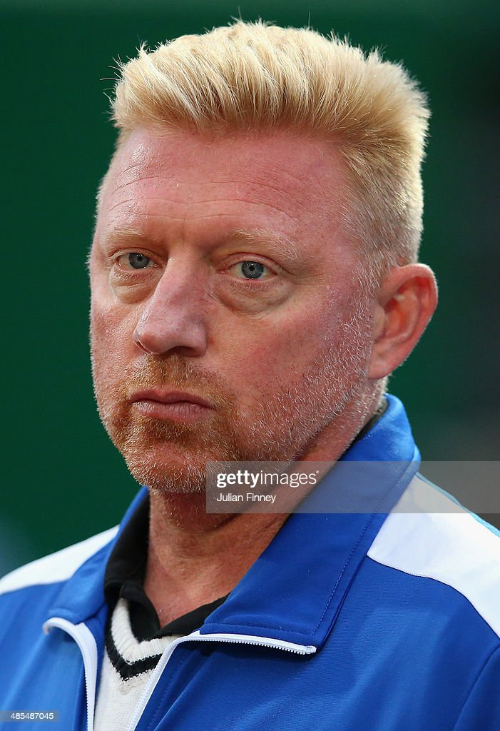 Boris Becker watches on as Novak Djokovic of Serbia in action against Guillermo Garcia-Lopez of Spain during day six of the ATP Monte Carlo Rolex Masters Tennis at Monte-Carlo Sporting Club on April 18, 2014 in Monte-Carlo, Monaco.