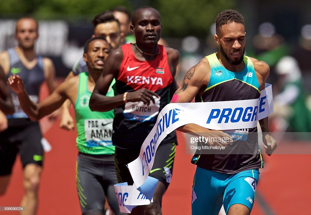 Boris Berian of the United States wins the 800 meter race at Hayward Field on May 28, 2016 in Eugene, Oregon.