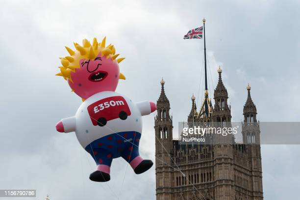 Boris Blimp balloon depicting Tory leadership hopeful Boris Johnson flies next to the Houses of Parliament ahead of antiBrexit Yes to Europe no to...