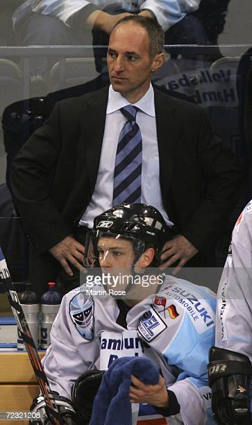 Boris Capla manager of Hamburg looks dejected during the DEL Bundesliga game between Hamburg Freezers and ERC Ingolstadt at the Color Line Arena on...