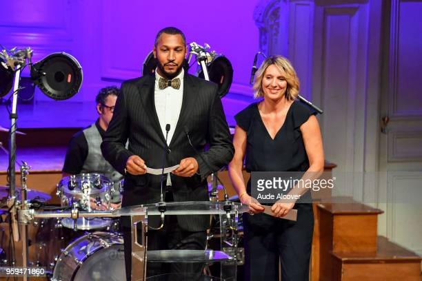 Boris Diaw and Audrey Sauret during the Trophy Award LNB Basketball at Salle Gaveau on May 16 2018 in Paris France
