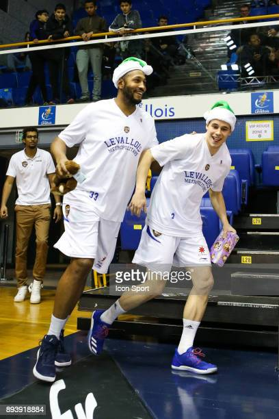 Boris Diaw and Klemen Prepelic of Levallois during the Pro A match between Levallois and Chalons Reims at Salle Marcel Cerdan on December 16 2017 in...
