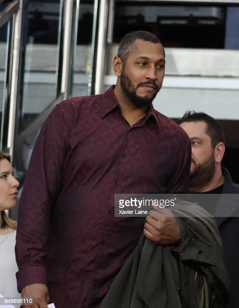 Boris Diaw attends the Ligue 1 match between Paris Saint Germain and AS Monaco at Parc des Princes on April 15 2018 in Paris