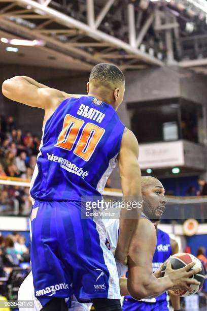 Boris Diaw of Levallois and Taylor Smith of Gravelines Dunkerque during the Jeep Elite match between Levallois and Gravelines Dunkerque on March 17...
