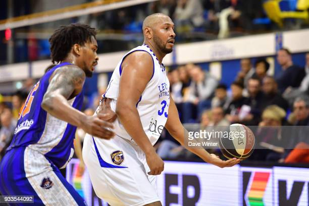 Boris Diaw of Levallois and Terry Allen of Gravelines Dunkerque during the Jeep Elite match between Levallois and Gravelines Dunkerque on March 17...