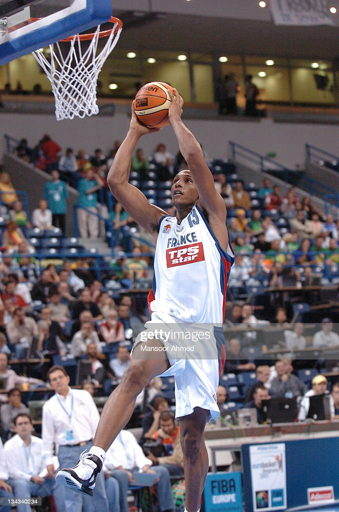 Boris Diaw of NBA's Phoenix Suns attacks the basket with precision during the Bronze medal match of the European Basketball Championships at the Belgrade Arena, Belgrade, Serbia & Montenegro, 24th September 2005.