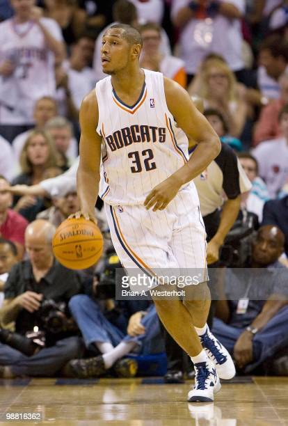Boris Diaw of the Charlotte Bobcats dribbles the ball against the Orlando Magic at Time Warner Cable Arena on April 26 2010 in Charlotte North...