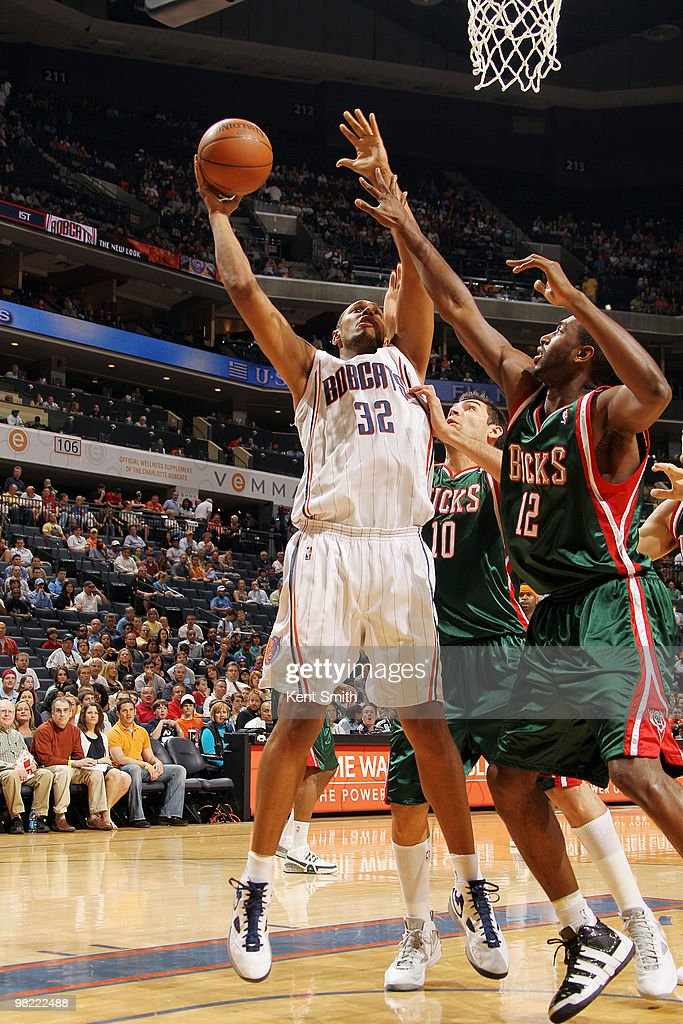 Boris Diaw #32 of the Charlotte Bobcats goes for the layup against Luc Mbah a Moute #12 of the Milwaukee Bucks on April 2, 2010 at the Time Warner Cable Arena in Charlotte, North Carolina.