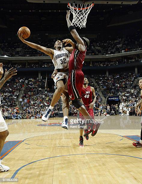 Boris Diaw of the Charlotte Bobcats goes for the layup against the Miami Heat on March 9 2010 at the Time Warner Cable Arena in Charlotte North...