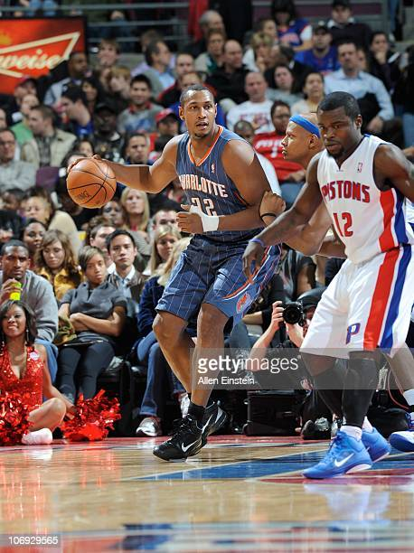 Boris Diaw of the Charlotte Bobcats handles the ball during a game against the Detroit Pistons on November 5 2010 at The Palace of Auburn Hills in...