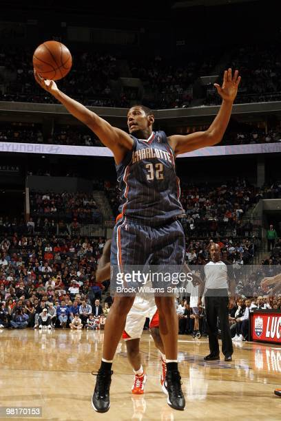 Boris Diaw of the Charlotte Bobcats rebounds during the game against the Golden State Warriors at Time Warner Cable Arena on March 6 2010 in...