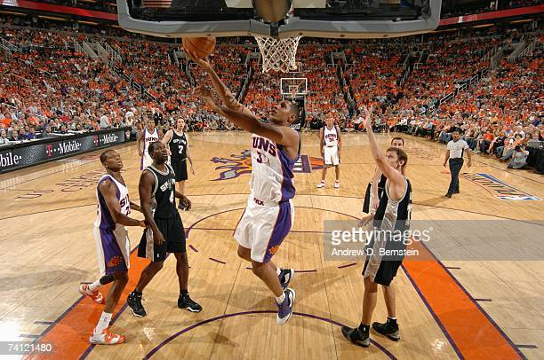 Boris Diaw of the Phoenix Suns shoots a layup against the San Antonio Spurs in Game Two of the Western Conference Semifinals during the 2007 NBA...