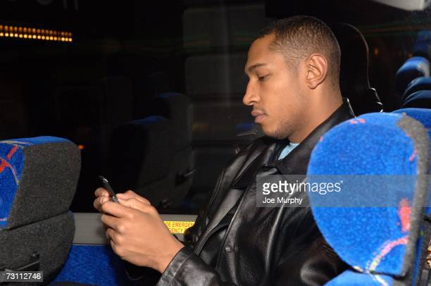 Boris Diaw of the Phoenix Suns uses his cell phone before the game against the Memphis Grizzlies on January 15 2007 at FedExForum in Memphis...