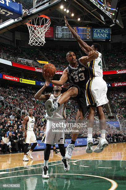 Boris Diaw of the San Antonio Spurs looks to pass against the Utah Jazz on February 23 2015 at EnergySolutions Arena in Salt Lake City Utah NOTE TO...