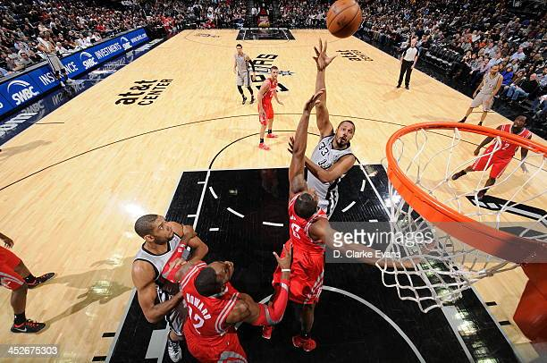 Boris Diaw of the San Antonio Spurs shoots against the Houston Rockets at the ATT Center on November 30 2013 in San Antonio Texas NOTE TO USER User...
