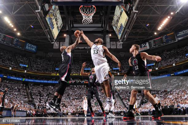 Boris Diaw of the Utah Jazz goes for the rebound against Marreese Speights of the Los Angeles Clippers during the Western Conference Quarterfinals of...